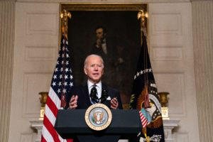Washington, United States. 27th Jan, 2021. President Joe Biden delivers remarks on his administration's response to climate change at an event in the State Dining Room of the White House in Washington DC, January, 2021.