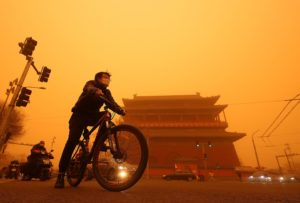 Beijing during the recent sandstorm, 15 March 2021 (Image: Stephen Shaver / Alamy)