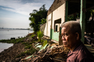 house collapse due to Mekong delta erosion
