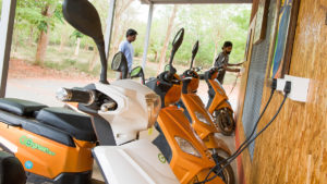 Electric scooters being charged at Auroville, Tamil Nadu, India