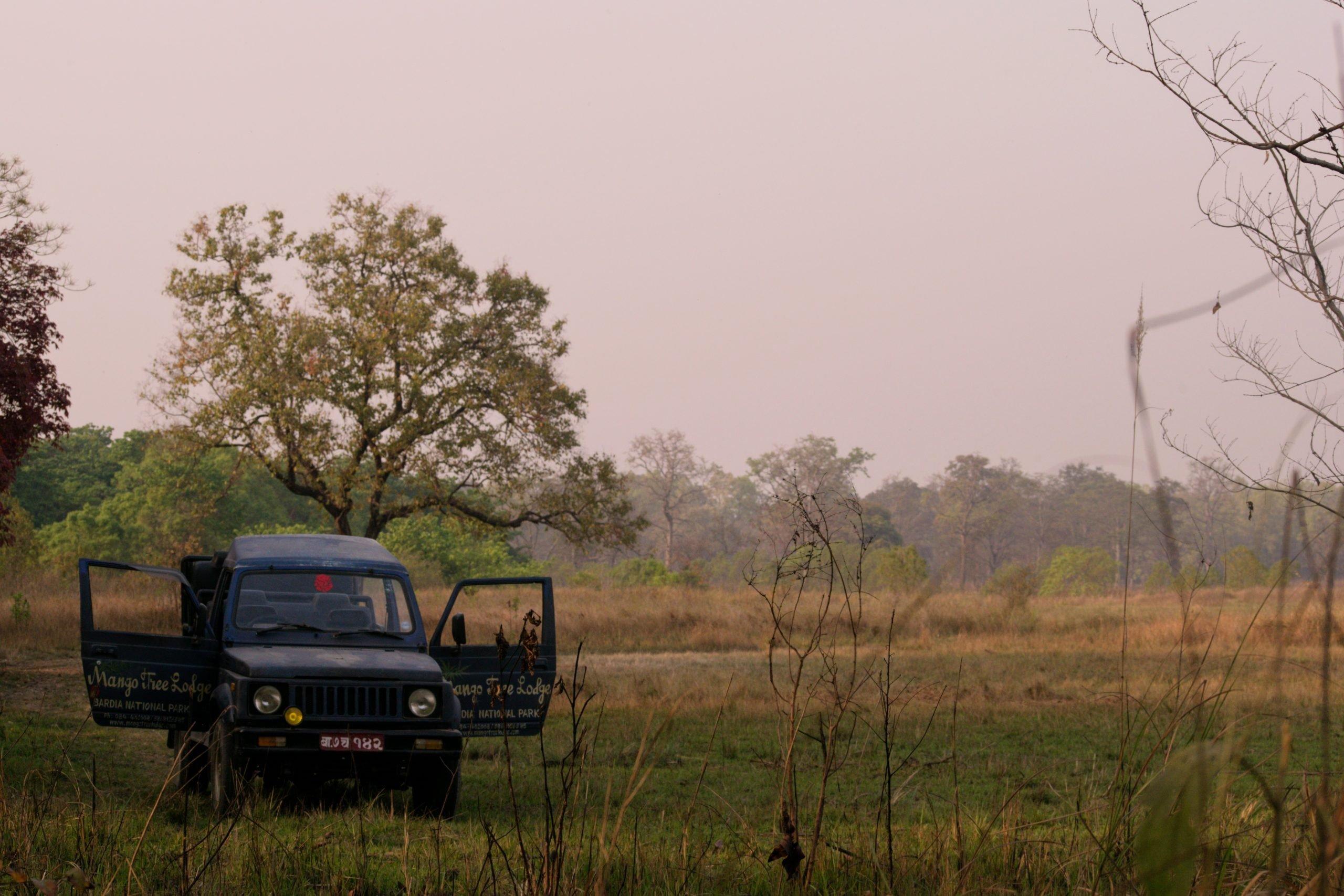 A safari jeep in Bardia National Park
