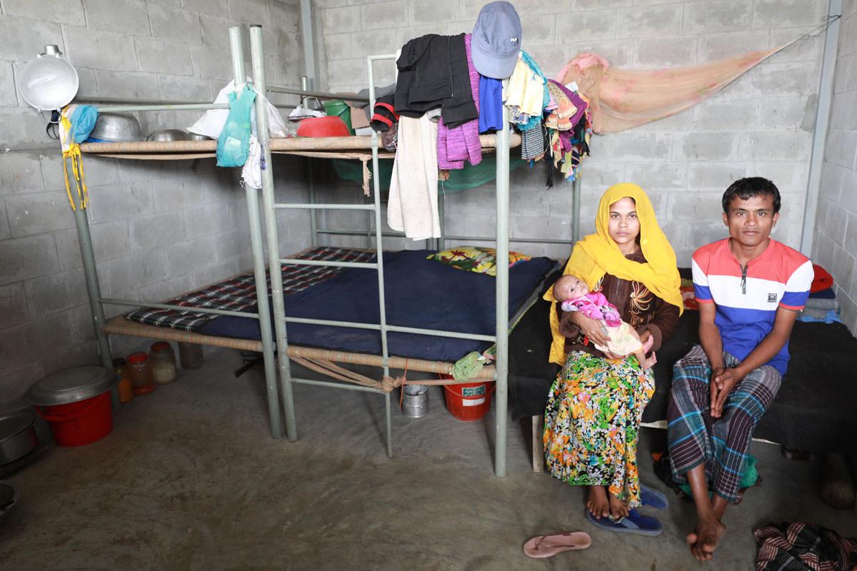 A family in the accommodation on Bhashan Char, Mohammad Minhaj Uddin