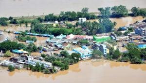 An aerial view of cyclone-hit coastal Odisha. (Photo by Odisha government)