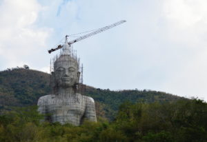 A statue of the Buddha under construction in Thailand