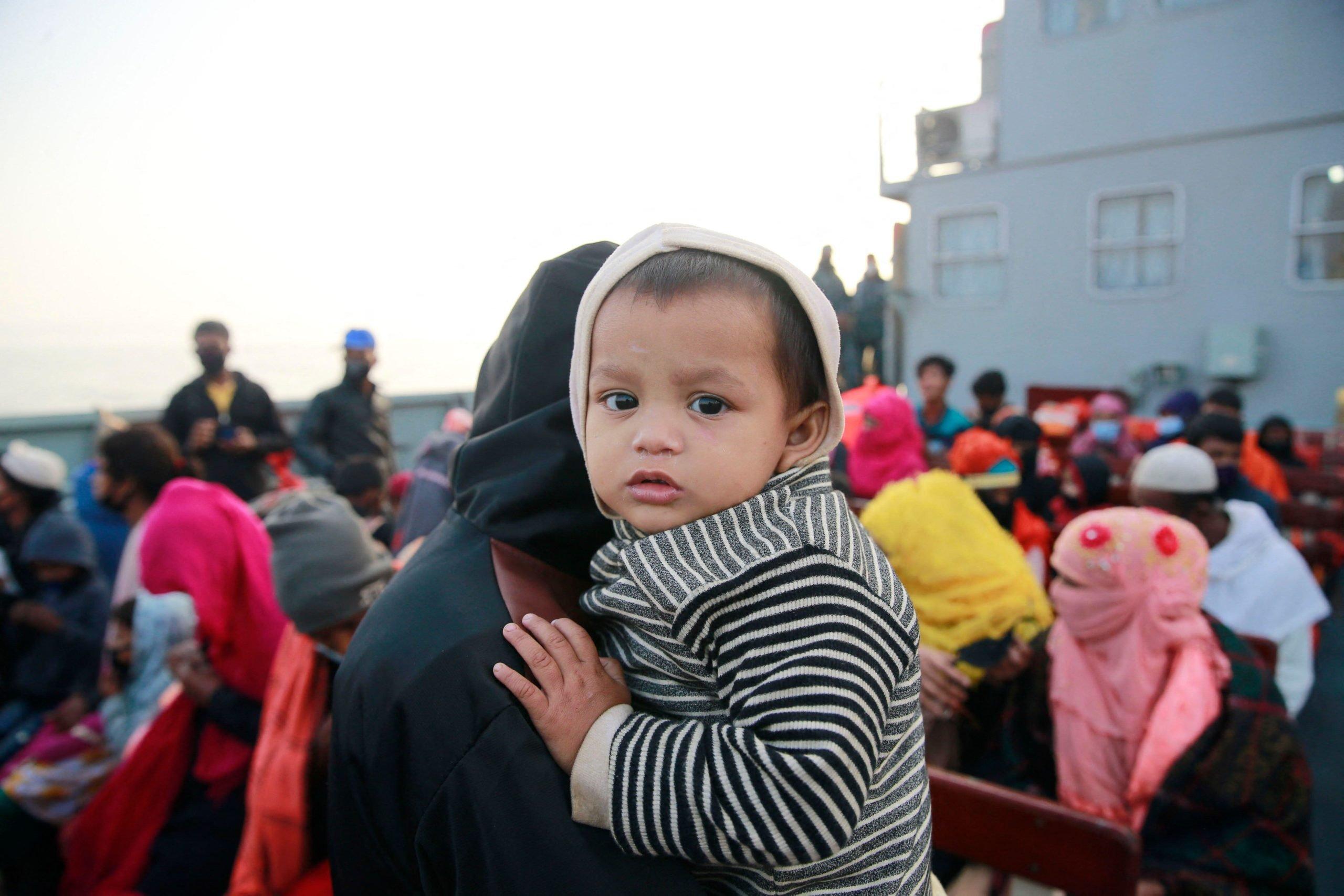 Rohingya refugees being taken to Bhashan Char on a naval ship in December 2020 (Image: Suvra Kanti Das / ABACAPRESS / Alamy Live News)
