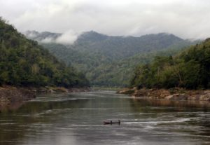 boat crosses the Salween River from Myanmar to Thailand