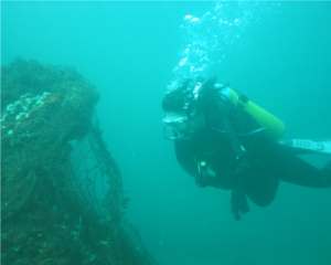 A scuba diver near Churna Island, Pakistan