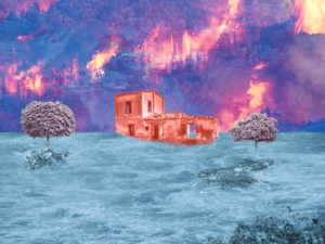 Climate disasters collage illustration