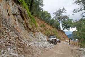 Landslide on Bhutan's national highway in August 2016 near the Phobjikha Valley (Image: Alamy)