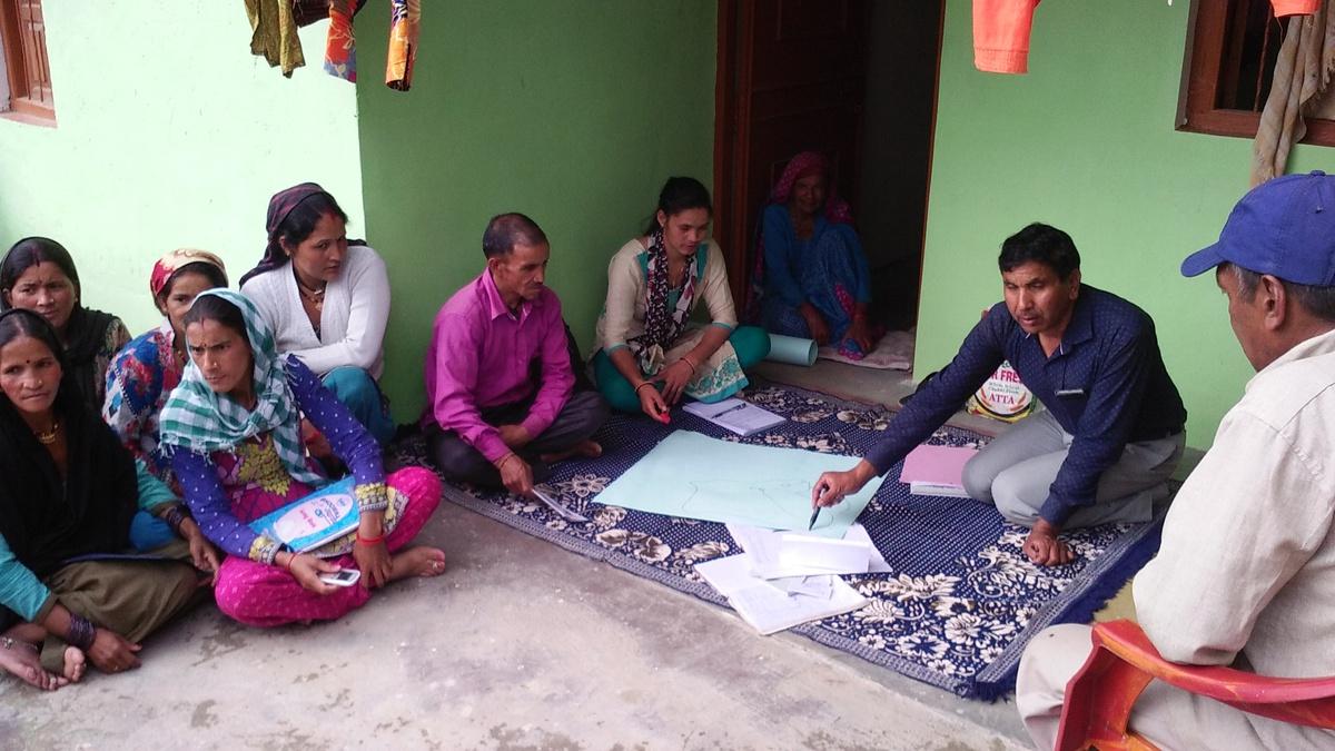 A water user committee meeting at Nathuakhan village, Nainital, Uttarakhand, CHIRAG