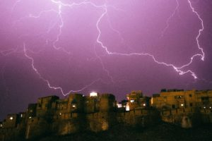 Lightning strikes above the city of Jaisalmer in Rajasthan, India
