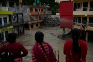 Flooded houses, Sindhupalchowk district, Nepal, during the 2021 monsoon