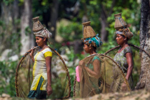 Tharu indigenous women fishing in Bardia National Park Nepal