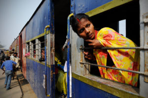 A woman on a train in Janakpur, Nepal, Leonid Plotkin